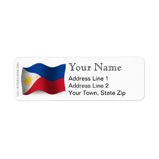 Philippines Waving Flag Label