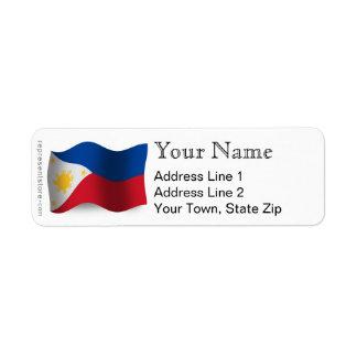Philippines Waving Flag Label