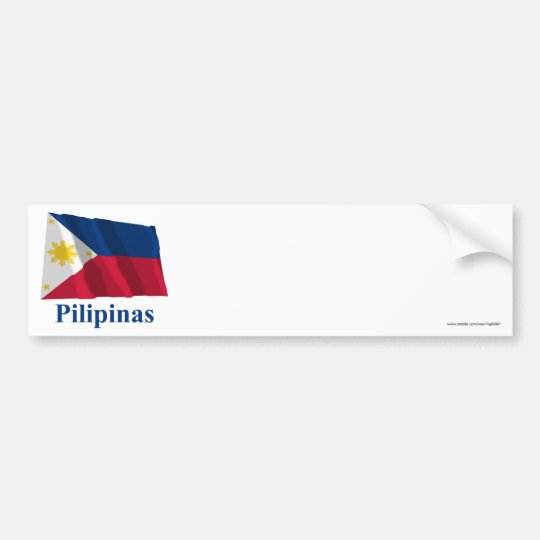 Philippines Waving Flag with Name in Filipino Bumper Sticker