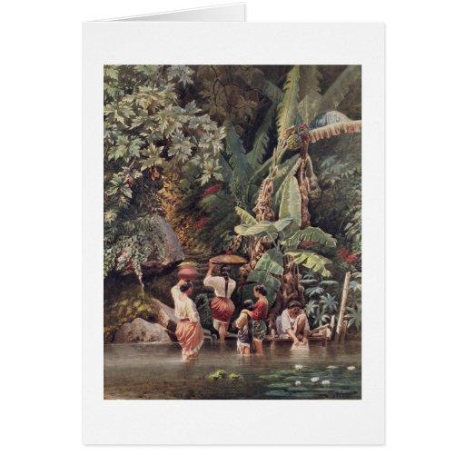 Philippino Women Washing Beneath a Banana Tree, 18 Greeting Card