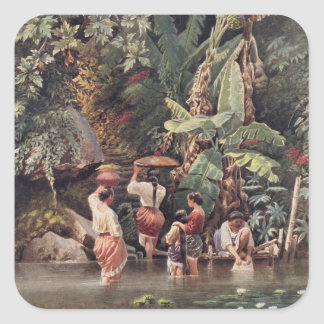 Philippino Women Washing Beneath a Banana Tree, 18 Square Sticker