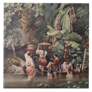 Philippino Women Washing Beneath a Banana Tree, 18 Ceramic Tiles
