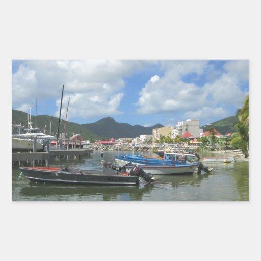 Philipsburg St Maarten: Philipsburg Harbor St. Maarten Rectangular Sticker