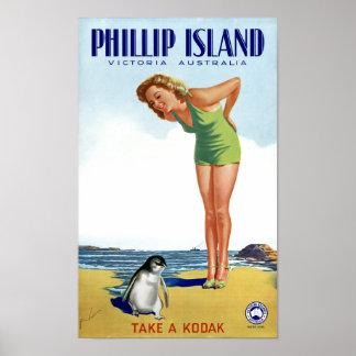 Phillip Island Victoria Australia Vintage Poster