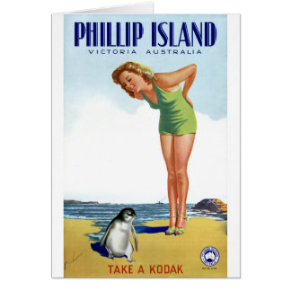 Phillip Island Victoria Australia Vintage Poster Card