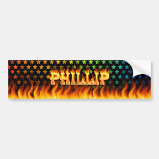 Phillip real fire and flames bumper sticker design
