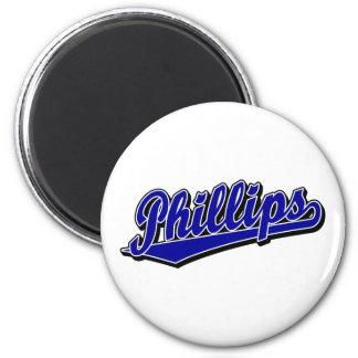 Phillips script logo in Blue 2 Inch Round Magnet