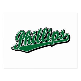 Phillips script logo in Green Postcard