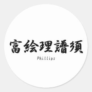 Phillips tradujo a símbolos japoneses del kanji etiquetas redondas