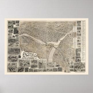 Phillipsburg, NJ y Easton, mapa panorámico del PA  Póster