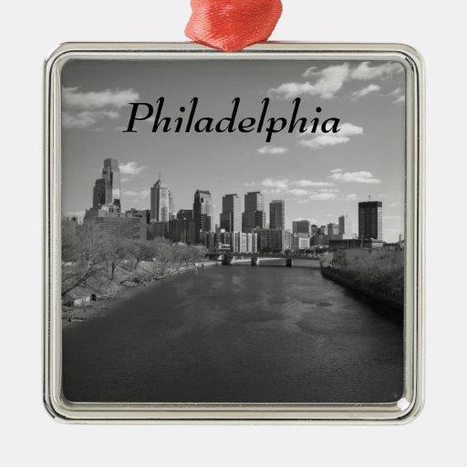 Philly b/w adorno navideño cuadrado de metal