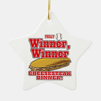 Philly Baseball Winner Winner Cheesesteak Dinner Ceramic Ornament