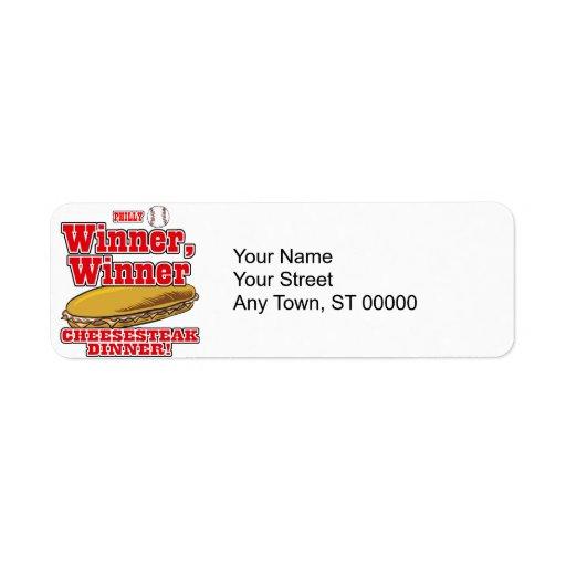 Philly Baseball Winner Winner Cheesesteak Dinner Custom Return Address Label