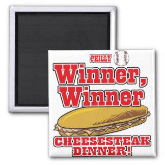 Philly Baseball Winner Winner Cheesesteak Dinner 2 Inch Square Magnet