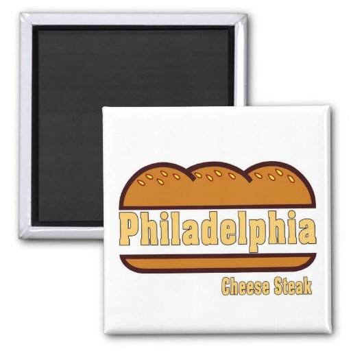 Philly Cheese Steak 2 Inch Square Magnet