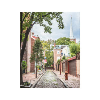 Philly Church and Cobblestone Alley Small Canvas Print
