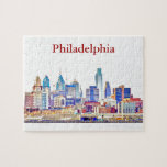 "Philly Color Sketch Skyline Puzzle<br><div class=""desc"">Philadelphia skyline under clear blue skies.</div>"