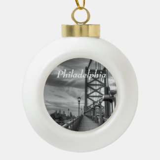 Philly from the bridge ceramic ball christmas ornament