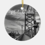 Philly from the bridge ceramic ornament