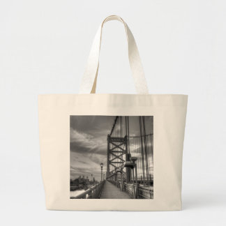 Philly from the bridge large tote bag