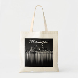 Philly night b/w canvas bag