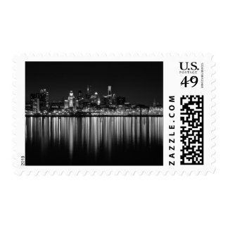 Philly night b w postage stamp