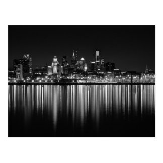 Philly night b/w postcard