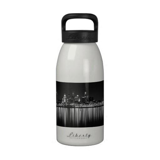 Philly night b/w reusable water bottle