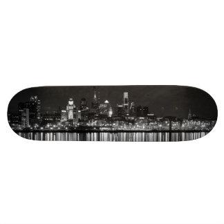 Philly night b/w skate board