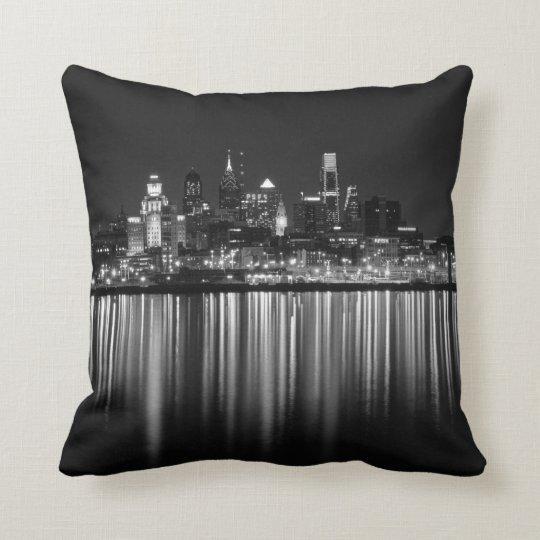 Philly night b/w throw pillow