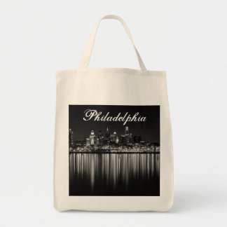 Philly night b/w tote bag