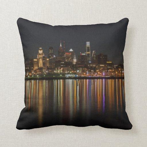 Philly night throw pillow