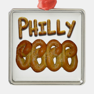 Philly Pretzels Square Metal Christmas Ornament