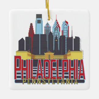 Philly Red & Blue Square Ornament
