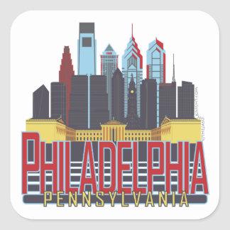 Philly Red & Blue Square Sticker