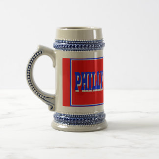 Philly Red Square Stein 18 Oz Beer Stein