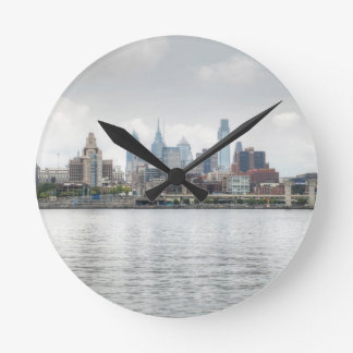 Philly skyline 2 round clock