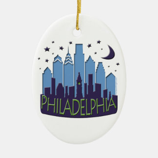 Philly Skyline mega cool Double-Sided Oval Ceramic Christmas Ornament