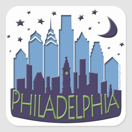 Philly Skyline mega cool Square Sticker