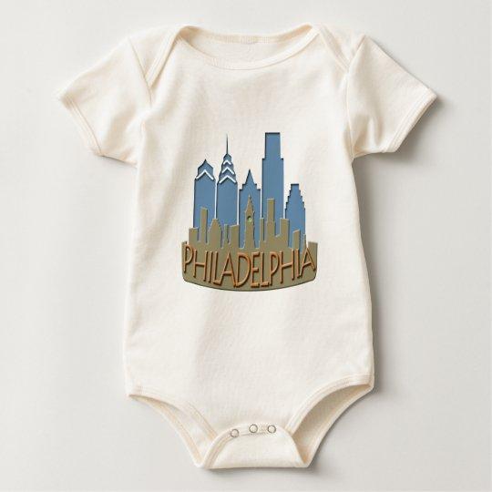 Philly Skyline newwave beachy Baby Bodysuit