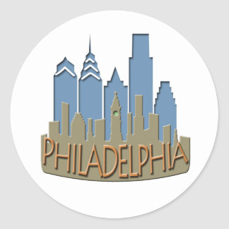 Philly Skyline newwave beachy Classic Round Sticker