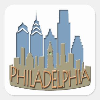 Philly Skyline newwave beachy Square Sticker