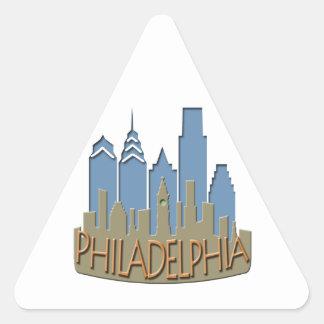 Philly Skyline newwave beachy Triangle Sticker