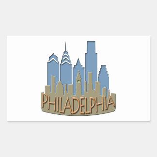 Philly Skyline newwave beachy Rectangular Sticker