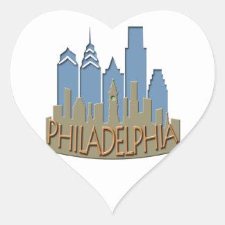 Philly Skyline newwave beachy Heart Sticker