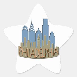 Philly Skyline newwave beachy Star Sticker