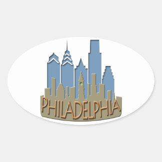 Philly Skyline newwave beachy Oval Sticker