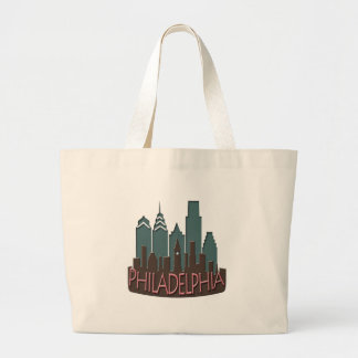 Philly Skyline newwave chocolate Large Tote Bag