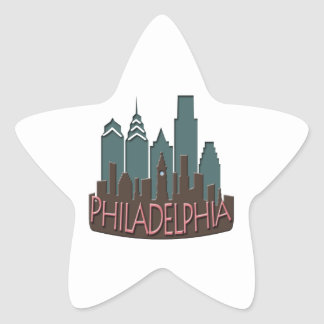 Philly Skyline newwave chocolate Star Sticker