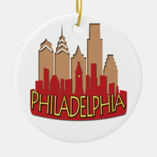 Philly Skyline newwave hot Double-Sided Ceramic Round Christmas Ornament